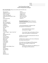 Compare And Contrast Mesopotamia And Egypt Unit 1 Exam Review Sheet Ancient Mesopotamia And Egypt Key