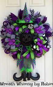 Halloween Lime, Purple \u0026 Black Deco Mesh Witch Wreath, Fall Wreath ...