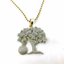 custom hip hop jewelry money tree design 925 sterling silver micro pave cz jewelry gold plated