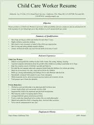 sample child care worker resume