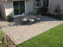 stone paver patio with garden cut out