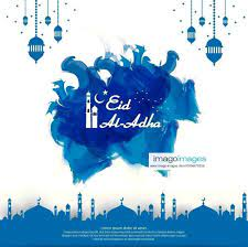 Eid al Adha Mubarak islamic greeting card design abstract blue watercolor  design with dome mosque