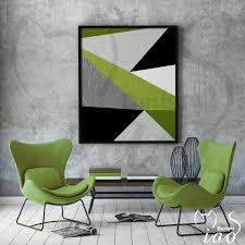 geometric olive green modern wall art