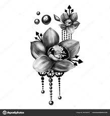 цветочный узор татуировки стоковое фото Shekaka 253145012