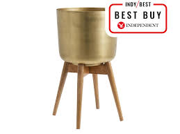 the forest and co brass plant pot on a wooden stand 60 not on the high street