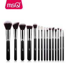details about msq professional 15pcs makeup brush set powder cosmetic tool synthetic black