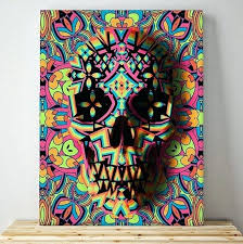 sugar skull wall art skull canvas print abstract skull art canvas wall decor colorful pattern sugar sugar skull wall art