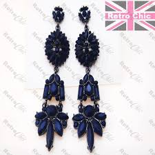 big 3 long sapphire dark blue vintage style chandelier earrings metal black 1 of 2only 4 available