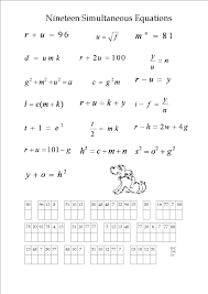 magnificent an algebra puzzle maths worksheets simultaneous equations worksheet ecccdbc full size