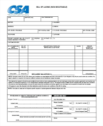 bill of lading trucking non negotiable bill of lading template trucking sea freight simple