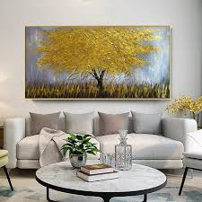 2019 canvas oil painting caudros decoracion 3d texture acrylic gold flower tree painting wall art pictures for living room home decor from wuzhongtin