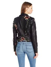 blanknyc women s black vegan leather fl embroidered jacket picture 2 of 2