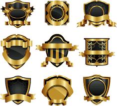 gold shield badge vector vectorpicker