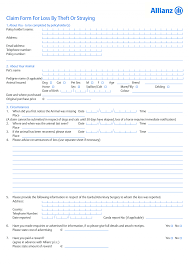 insurance allianz ireland doents pet insurance loss by theft or straying claim form 08111 travel claim form qbe anz