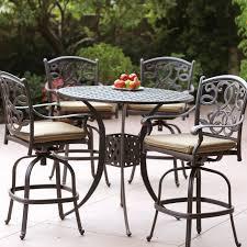 wood patio bar set. Darlee Santa Monica 5 Piece Cast Aluminum Patio Bar Set With Swivel Stools Wood B