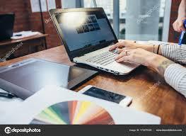 Interior Designer Laptop Close Up View Of Interior Designer Workspace With Laptop