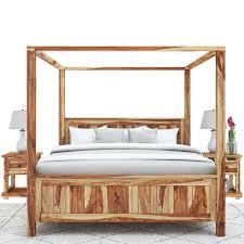 Larvik Rustic Solid Wood Platform Canopy Bed