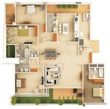 plano de departamento de 4 habitaciones y 4 ba os planos