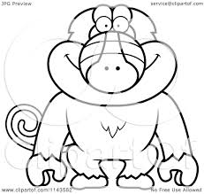 Small Picture Cartoon Clipart Of A Black And White Baboon Monkey Vector