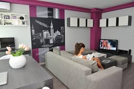 apartments furniture. Small Modern Contemporary One Bedroom Apartment Interior Design Ideas Of Simple Grey Color Social Room With Furniture And Decoration Corduroy Sofa Sectional Apartments