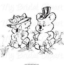 Bridal Clipart of a Black and White Koala Wedding Couple Making ...