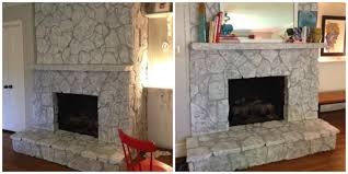 How To Whitewash Brick Fireplace Awesome White Washed River Rock Fireplace White Washed