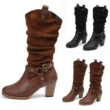 details about women s mid calf boots stretch leather buckle belt mid block heels shoes size