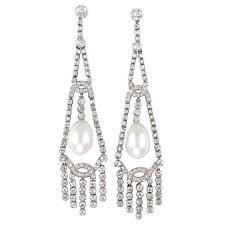 important art deco natural pearl diamond chandelier earrings