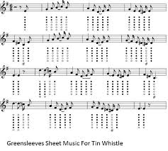My Heart Will Go On Tin Whistle Finger Chart Greensleeves Tin Whistle Sheet Music With Finger Charts