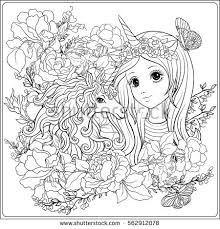 Cute Coloring Pages For Girls Unicorn Stock Vector Cute Girl And