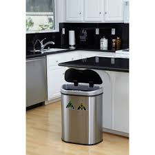 Kitchen Recycling Center Nine Stars 185 Gallon Motion Sensor Recycle Unit And Trash Can