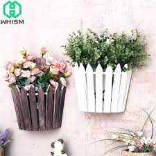 wooden flower boxes fence creative wood box wall shelf artificial plants storage basket for centerpieces diy