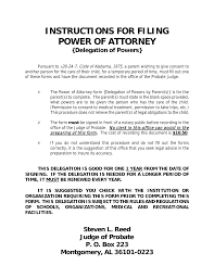 Power Of Attorney For Child Care Download Alabama Power Of Attorney For A Minor Child Pdf