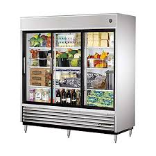 true tsd 69g ld reach in refrigerator 3 glass sliding doors led lighting