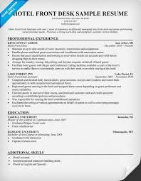 Resume For Hospitality Gorgeous Hotel Front Desk Resume Resumecompanion Travel Resume
