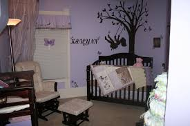 nice gorgeous purple wall and black nursery themes for girls and chair with stools