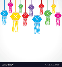 Diwali Greeting Background With Hanging Lamps
