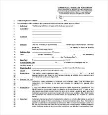 Commercial Sublease Agreement Template Word On Subletting Lease ...