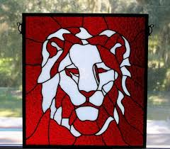 stained glass lion head
