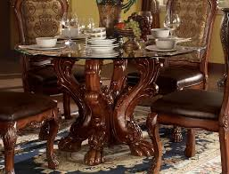details about dresden formal carved wood 54 round glass top dining table cherry oak brown red