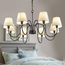 8 light black wrought iron chandelier with cloth shades dk 7059 8