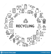 Recycling Signs Round Design Template Thin Line Icon Concept