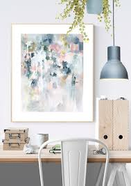 wall art print in pastel blues and greys in scandinavian home office interior sage on pastel wall art au with sage for days ii abstract art print kate fisher artist