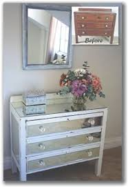 white and mirrored furniture. you will need an old chest of drawers coarse sandpaper paintbrush candle white emulsion paint small blade measuring tape pieces mirror cut according and mirrored furniture b