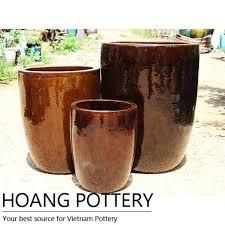large ceramic brown glazed flower pots