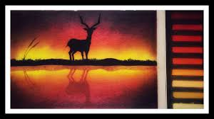 soft pastels painting tutorial of reflection of deer for beginners