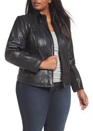 bernardo leather moto jacket plus size