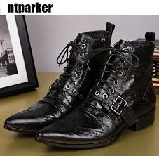 mens black leather boots fashion designer lacing up buckle strap pointed toe short motorcycle boots men eu38 46 womens boots boots uk from topfashionmen