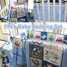 baby bedding set crib cot blue 7pc nursery nappy stacker quilt sheet boy abc 123