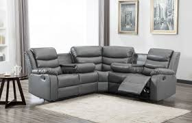 madrid grey leather recliner corner sofa